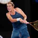 MELBOURNE, AUSTRALIA - JANUARY 20: Anastasia Pavlyuchenkova of Russia plays a backhand in her fourth round match against Sloane Stephens of the U.S.A during day seven of the 2019 Australian Open at Melbourne Park on January 20, 2019 in Melbourne, Australia. (Photo by Darrian Traynor/Getty Images)