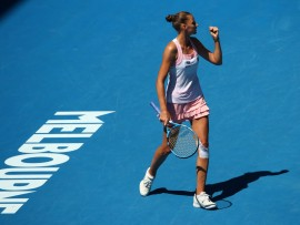MELBOURNE, AUSTRALIA - JANUARY 23:  Karolina Pliskova of Czech Republic celebrates in her quarter final match against Serena Williams of the United States during day 10 of the 2019 Australian Open at Melbourne Park on January 23, 2019 in Melbourne, Australia.  (Photo by Cameron Spencer/Getty Images)