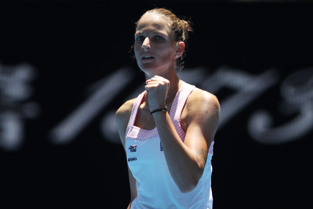 MELBOURNE, AUSTRALIA - JANUARY 23: Karolina Pliskova of Czech Republic celebrates winning set point in her quarter final match against Serena Williams of the United States during day 10 of the 2019 Australian Open at Melbourne Park on January 23, 2019 in Melbourne, Australia. (Photo by Mark Kolbe/Getty Images)