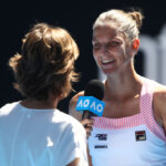 MELBOURNE, AUSTRALIA - JANUARY 23:  Karolina Pliskova of Czech Republic is interviewed after winning her quarter final match against Serena Williams of the United States during day 10 of the 2019 Australian Open at Melbourne Park on January 23, 2019 in Melbourne, Australia.  (Photo by Julian Finney/Getty Images)