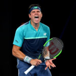 MELBOURNE, AUSTRALIA - JANUARY 17:  Milos Raonic of Canada celebrates a point in his second round match against Stan Wawrinka of Switzerland during day four of the 2019 Australian Open at Melbourne Park on January 17, 2019 in Melbourne, Australia.  (Photo by Quinn Rooney/Getty Images)