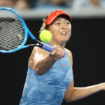 MELBOURNE, AUSTRALIA - JANUARY 16: Maria Sharapova of Russia plays a forehand in her second round women's singles match against Rebecca Peterson of Sweden during day three of the 2019 Australian Open at Melbourne Park on January 16, 2019 in Melbourne, Australia. (Photo by Mark Kolbe/Getty Images)