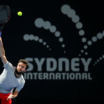SYDNEY, AUSTRALIA - JANUARY 10: Gilles Simon of France serves in his match against John Millman of Australia during day five of the 2019 Sydney International at the Sydney Olympic Tennis Centre on January 10, 2019 in Sydney, Australia. (Photo by Jason McCawley/Getty Images)