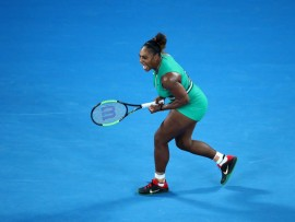 MELBOURNE, AUSTRALIA - JANUARY 21:  Serena Williams of the United States reacts in her fourth round match against Simona Halep of Romania during day eight of the 2019 Australian Open at Melbourne Park on January 21, 2019 in Melbourne, Australia.  (Photo by Scott Barbour/Getty Images)
