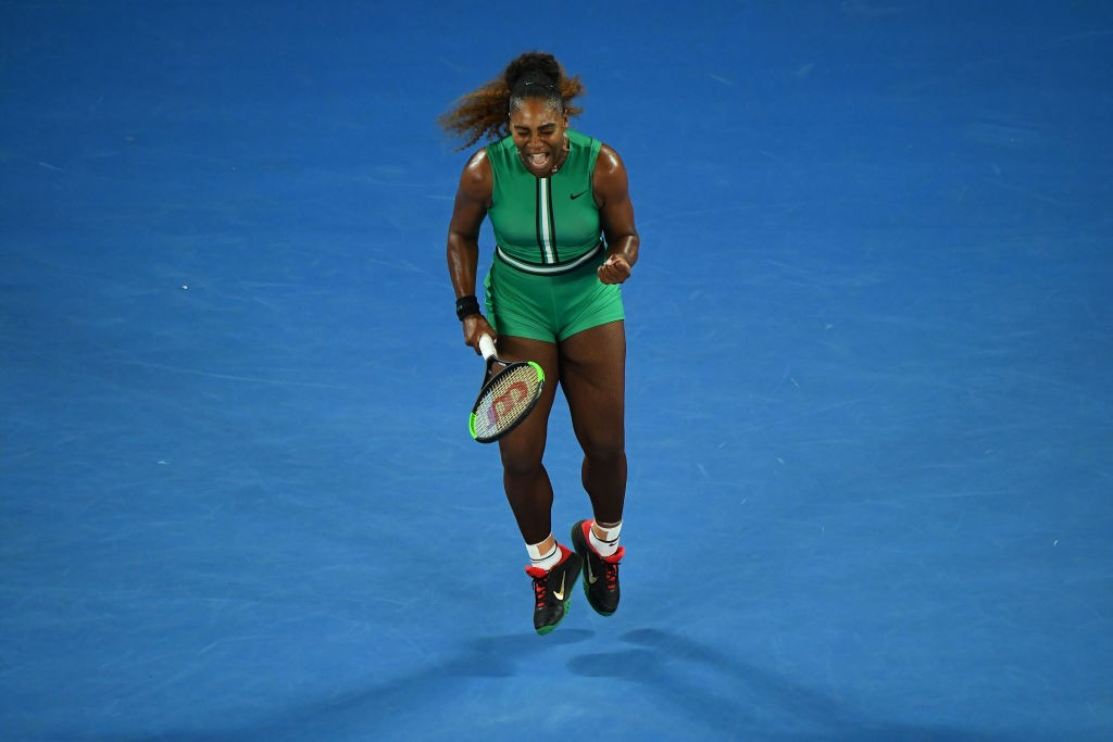 MELBOURNE, AUSTRALIA - JANUARY 17:  Serena Williams of the United States celebates in her second round match against Eugene Bouchard of Canada during day four of the 2019 Australian Open at Melbourne Park on January 17, 2019 in Melbourne, Australia.  (Photo by Quinn Rooney/Getty Images)