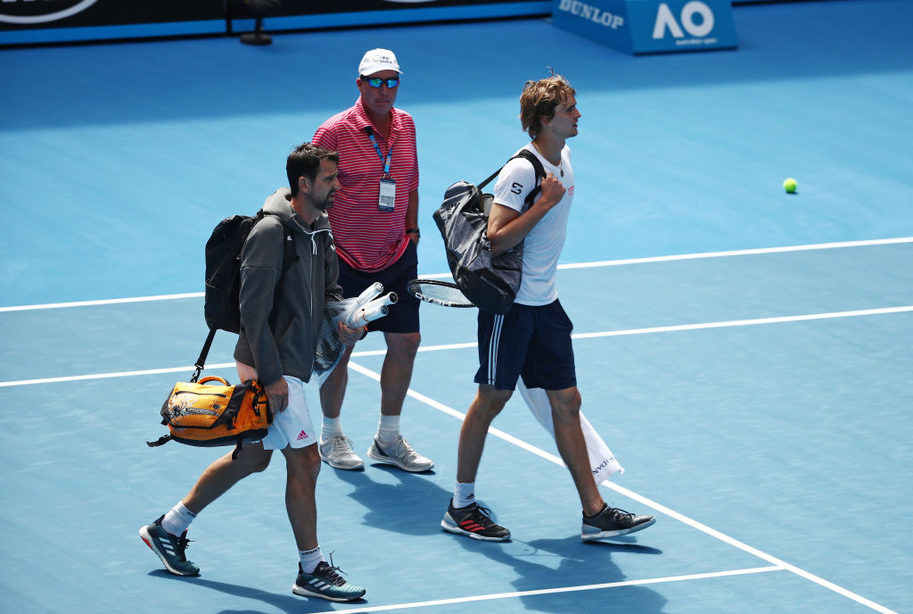 MELBOURNE, AUSTRALIA - JANUARY 10: Alexander Zverev of Germany leaves the court injured after his exhibition match ahead of the 2019 Australian Open at Melbourne Park on January 10, 2019 in Melbourne, Australia. (Photo by Scott Barbour/Getty Images)