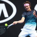 MELBOURNE, AUSTRALIA - JANUARY 15:  Alexander Zverev of Germany plays a forehand in his first round match against Aljaz Bedene of Slovenia during day two of the 2019 Australian Open at Melbourne Park on January 15, 2019 in Melbourne, Australia.  (Photo by Julian Finney/Getty Images)