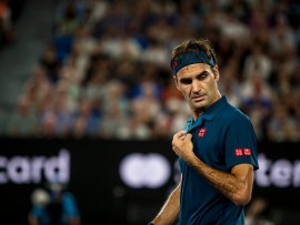 MELBOURNE, AUSTRALIA - JANUARY 14 : Roger Federer of Switzerland fixes his shirt at the end of a game during day 1 of the Australian Open on January 14 2019, at Melbourne Park in Melbourne, Australia.(Photo by Jason Heidrich/Icon Sportswire via Getty Images)