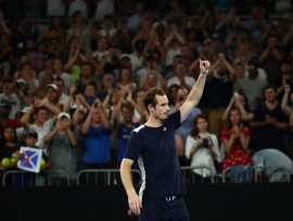 MELBOURNE, AUSTRALIA - JANUARY 14:  Andy Murray of Great Britain thanks the crowd after losing his first round match against Roberto Bautista Agut of Spain during day one of the 2019 Australian Open at Melbourne Park on January 14, 2019 in Melbourne, Australia.  (Photo by Cameron Spencer/Getty Images)