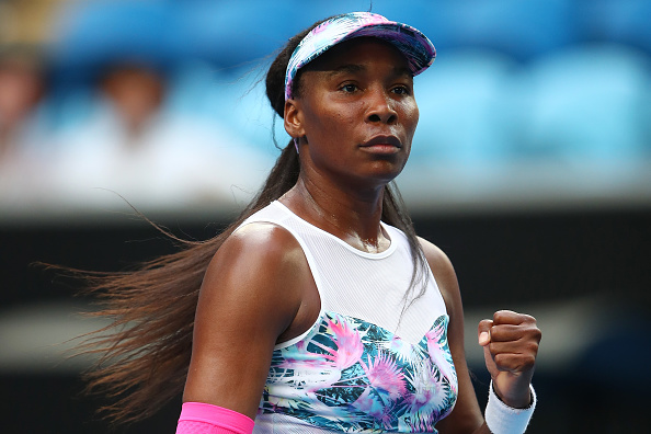 MELBOURNE, AUSTRALIA - JANUARY 15:  Venus Williams of the United States celebrates a point in her first round match against Mihaela Buzarnescu of Romania during day two of the 2019 Australian Open at Melbourne Park on January 15, 2019 in Melbourne, Australia.  (Photo by Cameron Spencer/Getty Images)