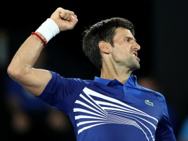 MELBOURNE, AUSTRALIA - JANUARY 15:  Novak Djokovic of Serbia reacts in his first round match against Mitchell Krueger of the United States during day two of the 2019 Australian Open at Melbourne Park on January 15, 2019 in Melbourne, Australia.  (Photo by Mark Kolbe/Getty Images)