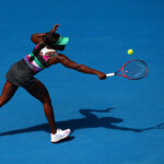 MELBOURNE, AUSTRALIA - JANUARY 16:  Sloane Stephens of the United States plays a backhand in her second round match against Timea Babos of Hungary during day three of the 2019 Australian Open at Melbourne Park on January 16, 2019 in Melbourne, Australia.  (Photo by Quinn Rooney/Getty Images)