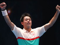 MELBOURNE, AUSTRALIA - JANUARY 17:  Kei Nishikori of Japan celebrates winning match point in his second round match against Ivo Karlovic of Croatia during day four of the 2019 Australian Open at Melbourne Park on January 17, 2019 in Melbourne, Australia.  (Photo by Michael Dodge/Getty Images)