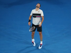 MELBOURNE, AUSTRALIA - JANUARY 18:  Grigor Dimitrov of Bulgaria reacts in his third round match against Thomas Fabbiano of Italy during day five of the 2019 Australian Open at Melbourne Park on January 18, 2019 in Melbourne, Australia.  (Photo by Michael Dodge/Getty Images)