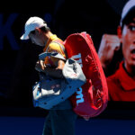MELBOURNE, AUSTRALIA - JANUARY 19:  Kei Nishikori of Japan walks onto the court for his third round match against Joao Sousa of Portugal during day six of the 2019 Australian Open at Melbourne Park on January 19, 2019 in Melbourne, Australia.  (Photo by Julian Finney/Getty Images)