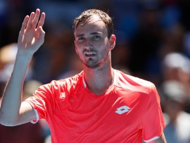 MELBOURNE, AUSTRALIA - JANUARY 19:  Daniil Medvedev of Russia celebrates winning his third round match against David Goffin of Belgium during day six of the 2019 Australian Open at Melbourne Park on January 19, 2019 in Melbourne, Australia.  (Photo by Darrian Traynor/Getty Images)
