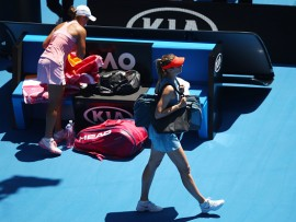 MELBOURNE, AUSTRALIA - JANUARY 20:  Maria Sharapova of Russia walks off after losing her fourth round match against Ashleigh Barty of Australia during day seven of the 2019 Australian Open at Melbourne Park on January 20, 2019 in Melbourne, Australia.  (Photo by Julian Finney/Getty Images)
