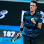 MELBOURNE, AUSTRALIA - JANUARY 20 : Roberto Bautista Agut of Spain celebrates during day 7 of the Australian Open on January 20 2019, at Melbourne Park in Melbourne, Australia.(Photo by Jason Heidrich/Icon Sportswire via Getty Images)