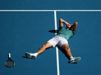 MELBOURNE, AUSTRALIA - JANUARY 22:  Stefanos Tsitsipas of Greece celebrates winning match point in his quarter final match against Roberto Bautista Agut of Spain during day nine of the 2019 Australian Open at Melbourne Park on January 22, 2019 in Melbourne, Australia.  (Photo by Cameron Spencer/Getty Images)
