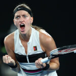 MELBOURNE, AUSTRALIA - JANUARY 24:  Petra Kvitova of the Czech Republic reacts in her Women's Semi Final match against Danielle Collins of the United States during day 11 of the 2019 Australian Open at Melbourne Park on January 24, 2019 in Melbourne, Australia.  (Photo by Cameron Spencer/Getty Images)