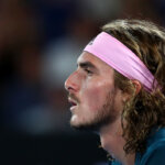 MELBOURNE, AUSTRALIA - JANUARY 24:  Stefanos Tsitsipas of Greece looks out in his Men's Semi Final match against Rafael Nadal of Spain during day 11 of the 2019 Australian Open at Melbourne Park on January 24, 2019 in Melbourne, Australia.  (Photo by Cameron Spencer/Getty Images)