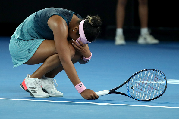 MELBOURNE, AUSTRALIA - JANUARY 26:  Naomi Osaka of Japan reacts in her Women's Singles Final match against Petra Kvitova of the Czech Republic during day 13 of the 2019 Australian Open at Melbourne Park on January 26, 2019 in Melbourne, Australia.  (Photo by Mark Kolbe/Getty Images)