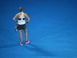 MELBOURNE, AUSTRALIA - JANUARY 26:  Petra Kvitova of the Czech Republic reacts in her Women's Singles Final match against Naomi Osaka of Japan during day 13 of the 2019 Australian Open at Melbourne Park on January 26, 2019 in Melbourne, Australia.  (Photo by Cameron Spencer/Getty Images)
