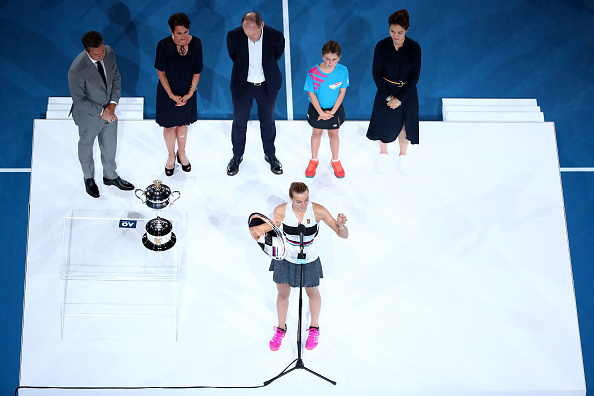 MELBOURNE, AUSTRALIA - JANUARY 26:  Petra Kvitova of Czech Republic addresses the crowd after being presented with the runners-up trophy following defeat in her Women's Singles Final match against Naomi Osaka of Japan during day 13 of the 2019 Australian Open at Melbourne Park on January 26, 2019 in Melbourne, Australia.  (Photo by Cameron Spencer/Getty Images)