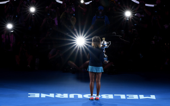 MELBOURNE, AUSTRALIA - JANUARY 26: Naomi Osaka of Japan poses for a photo with the Daphne Akhurst Memorial Cup following victory in her Women's Singles Final match against Petra Kvitova of the Czech Republic during day 13 of the 2019 Australian Open at Melbourne Park on January 26, 2019 in Melbourne, Australia. (Photo by Quinn Rooney/Getty Images)