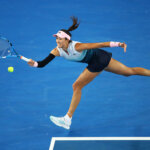 MELBOURNE, AUSTRALIA - JANUARY 17:  Garbine Muguruza of Spain in action against Johanna Konta of Great Britain during day four of the 2019 Australian Open at Melbourne Park on January 17, 2019 in Melbourne, Australia. (Photo by Julian Finney/Getty Images)