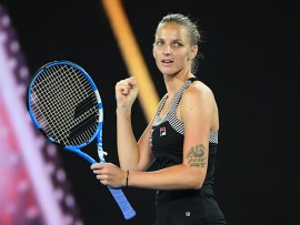 MELBOURNE, AUSTRALIA - JANUARY 19: Karolina Pliskova of the Czech Republic celebrates winning against Camila Giorgi of Italy in their third round women's match on day six of the Australian Openduring day six of the 2019 Australian Open at Melbourne Park on January 19, 2019 in Melbourne, Australia. (Photo by Quinn Rooney/Getty Images)