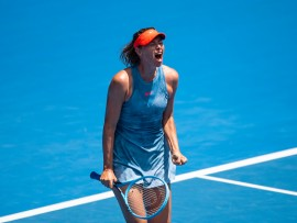 "MELBOURNE, AUSTRALIA - JANUARY 20:  Maria Sharapova of Russia celebrates against Ashleigh Barty of Australia during day seven of the 2019 Australian Open at Melbourne Park on January 20, 2019 in Melbourne, Australia. (Photo by TPN/Getty Images)""n""n""n""n"