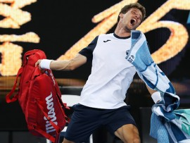 MELBOURNE, AUSTRALIA - JANUARY 21:  Pablo Carreno Busta of Spain throws his bag as he shows his frustration after defeat in his fourth round match against Kei Nishikori of Japan during day eight of the 2019 Australian Open at Melbourne Park on January 21, 2019 in Melbourne, Australia. (Photo by Mark Kolbe/Getty Images)