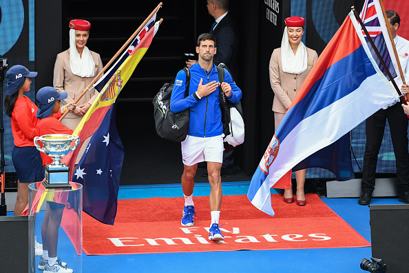 MELBOURNE, AUSTRALIA - JANUARY 27: Novak Djokovic of Serbia entering the Men's Singles Final match against Rafael Nadal of Spain during day 14 of the 2019 Australian Open at Melbourne Park on January 27, 2019 in Melbourne, Australia. (Photo by James D. Morgan/Getty Images)