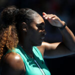 MELBOURNE, AUSTRALIA - JANUARY 23:  Serena Williams of the United States looks on in her quarter final match against Karolina Pliskova of Czech Republic during day 10 of the 2019 Australian Open at Melbourne Park on January 23, 2019 in Melbourne, Australia.  (Photo by Mark Kolbe/Getty Images)