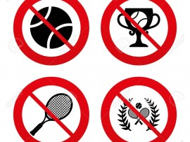 No, Ban or Stop signs. Tennis ball and rackets icons. Winner cup sign. Sport laurel wreath winner award symbol. Prohibition forbidden red symbols. Vector