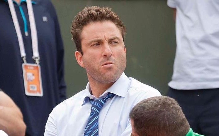 May 26, 2015; Paris, France; Justin Gimelstob in attendance for the John Isner (USA) and Andreas Seppi (ITA) match on day three at Roland Garros. Gimelstob is the coach of John Isner. Mandatory Credit: Susan Mullane-USA TODAY Sports