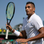 Nick Kyrgios AUS reacts during play against Denis Istomin UZB on Court 12 in the Gentlemen's Singles first round. The Championships 2018. Held at The All England Lawn Tennis Club, Wimbledon. Day 2 Tuesday 03/07/2018. Credit: AELTC/Ian Walton