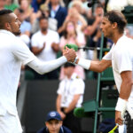 LONDON, ENGLAND - JULY 04: Rafael Nadal of Spain shakes hands at the net with Nick Kyrgios of Australia after their Men's Singles second round match during Day four of The Championships - Wimbledon 2019 at All England Lawn Tennis and Croquet Club on July 04, 2019 in London, England. (Photo by Mike Hewitt/Getty Images)