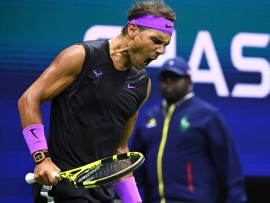 September 6, 2019 - Rafael Nadal in action against Matteo Berrettini in a semifinal match at the 2019 US Open. (Photo by Garrett Ellwood/USTA)