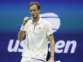 Daniil Medvedev, of Russia, reacts after scoring a point against Grigor Dimitrov, of Bulgaria, during the men's singles semifinals of the U.S. Open tennis championships Friday, Sept. 6, 2019, in New York. (AP Photo/Adam Hunger)