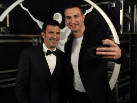 BERLIN, GERMANY - FEBRUARY 17:  (L-R) Laureus Academy Member Luis Figo  and Wladimir Klitschko during the 2020 Laureus World Sports Awards at Verti Music Hall on February 17, 2020 in Berlin, Germany. (Photo by Ian Gavan/Getty Images for Laureus)
