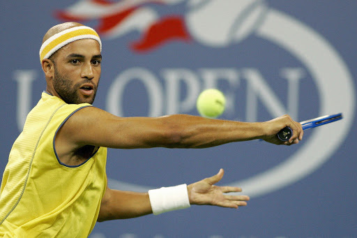 James Blake returns to Igor Andreev at the 2005 US Open.
