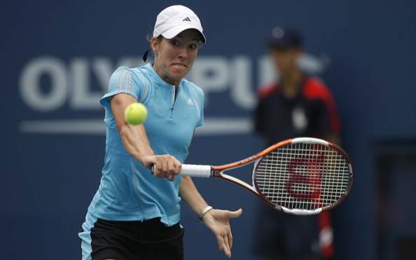 Justine Henin-Haedenne during a first round match against Maria Elena Camerin at the 2006 US Open at the USTA National Tennis Center in Flushing Queens, NY on August 28, 2006. (Photo by Mike Ehrmann/Getty Images)