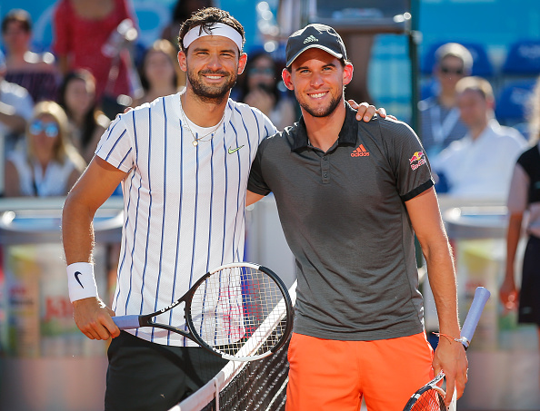 BELGRADE, SERBIA - JUNE 14: Grigor Dimitrov (L) of Bulgaria and Dominic Thiem (R) of Austria pose for a photo prior to the the Adria Tour charity exhibition tournament hosted by Novak Djokovic on June 14, 2020 in Belgrade, Serbia. (Photo by Srdjan Stevanovic/Getty Images)