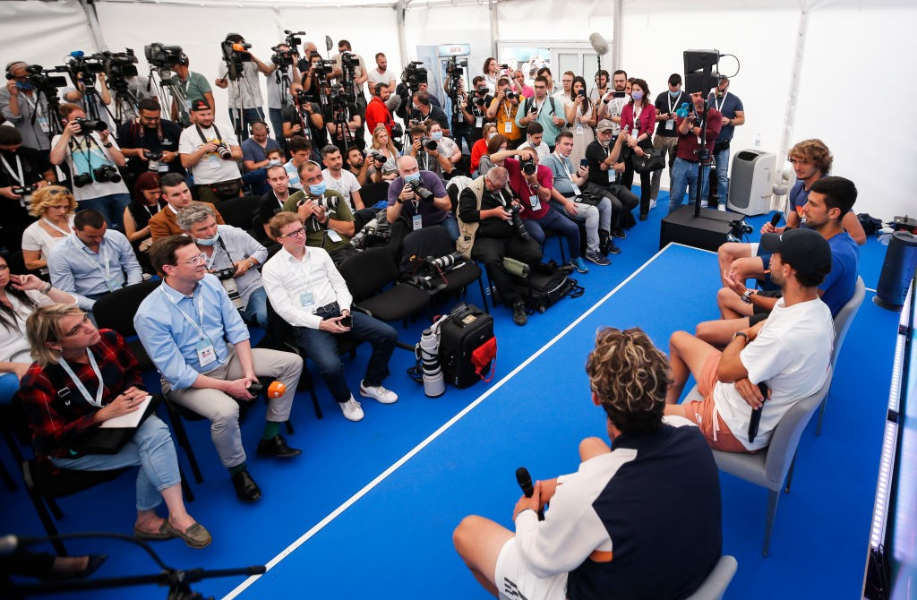 BELGRADE, SERBIA - JUNE 12: Alexander Zverev of Germany, Novak Djokovic of Serbia, Grigor Dimitrov of Bulgaria and Dominic Thiem of Austria during a press conference prior to the Adria Tour tennis event on June 12, 2020 in Belgrade, Serbia. (Photo by Srdjan Stevanovic/Getty Images)
