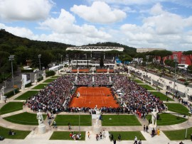 ROME, ITALY - MAY 14:  A general view during the Women's singles first round match between Aleksandra Krunic of Serbia and Roberta Vinci of Italy and on day two of the Internazionali BNL d'Italia 2018 at Foro Italico on May 14, 2018 in Rome, Italy.  (Photo by Julian Finney/Getty Images)