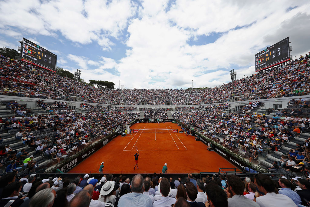 ROME, ITALY - MAY 17:  A general view of center court as Fabio Fognini of Italy returns a forehand in his match against Peter Gojowczyk of Germany during day 5 of the Internazionali BNL d'Italia 2018 tennis at Foro Italico on May 17, 2018 in Rome, Italy.  (Photo by Dean Mouhtaropoulos/Getty Images)