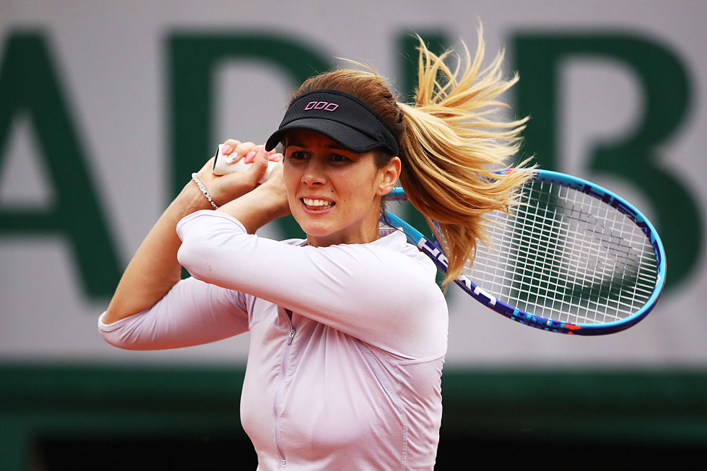 PARIS, FRANCE - JUNE 01: Tsvetana Pironkova of Bulgaria hits a backhand during the Ladies Singles quarter final match against Samantha Stosur of Australia on day eleven of the 2016 French Open at Roland Garros on June 1, 2016 in Paris, France. (Photo by Clive Brunskill/Getty Images)