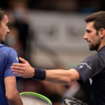 VIENNA, AUSTRIA - OCTOBER 30: Novak Djokovic of Serbia congratulates Lorenzo Sonego of Italy for winning the quarter finals match on day seven of the Erste Bank Open tennis tournament at Wiener Stadthalle on October 30, 2020 in Vienna, Austria. (Photo by Thomas Kronsteiner/Getty Images)